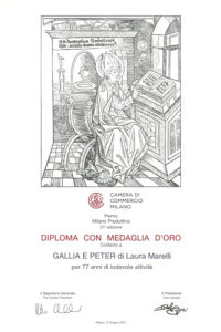 Gallia e Peter Diploma medaglia oro